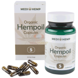 MediHemp CBD Oil Raw Capsules CO2 Extraction 5% CBD 30 Pieces