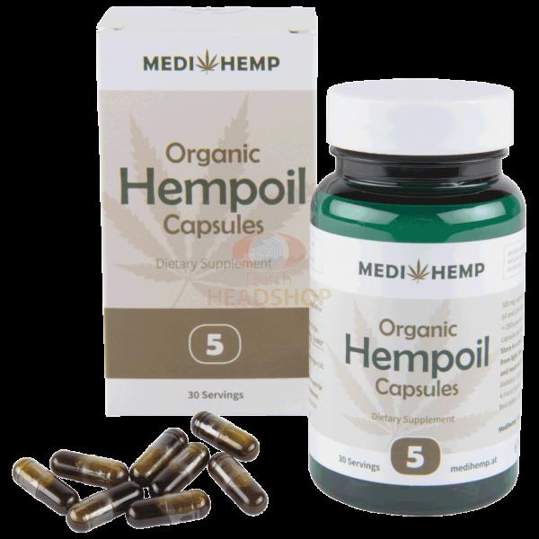MediHemp CBD Oil Raw Capsules CO2 Extraction 5% CBD 30 Pieces