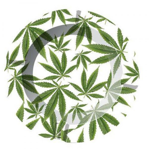 Ashtray | cannabis leaves | aluminum