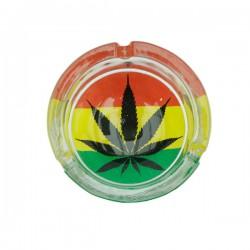 Ashtray | Rasta cannabis leaf | glass