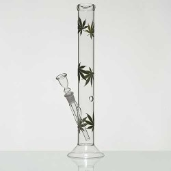 Glass bong | crooked | green cannabis leaves | 40 cm