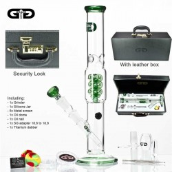 Luxury Green Cane Spiral Bong with leather Case