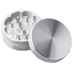 weed grinder | 2 part | Silver | Aluminium |  Ø 50mm