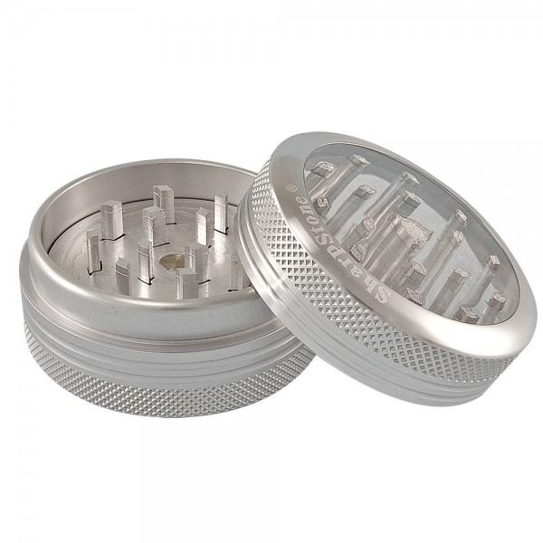 weed grinder | 2 part | Sharpstone | Aluminium |  Ø 50mm  |clear view