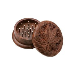 Weed grinder | 2part | Wood | Cannabis leaf | Ø40mm